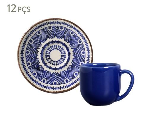 Jogo de Xícaras para Café e Pires em Cerâmica Coup Inca 06 Pessoas - Estampado, Azul | WestwingNow