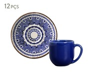 Jogo de Xícaras para Café e Pires em Cerâmica Coup Inca 06 Pessoas - Estampado | WestwingNow
