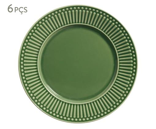 Jogo de Pratos Rasos em Cerâmica Roma - Verde, Verde   WestwingNow