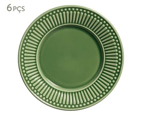 Jogo de Pratos para Sobremesa em Cerâmica Roma 06 Pessoas - Verde | WestwingNow