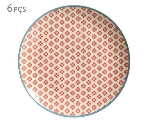 Jogo de Pratos Rasos Coup Cerejeira - 06 Pessoas, Vermelho,Branco | WestwingNow