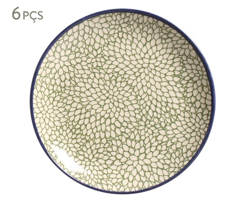 Jogo de Pratos para Sobremesa Coup Folhas - 06 Pessoas, Verde,Branco | WestwingNow
