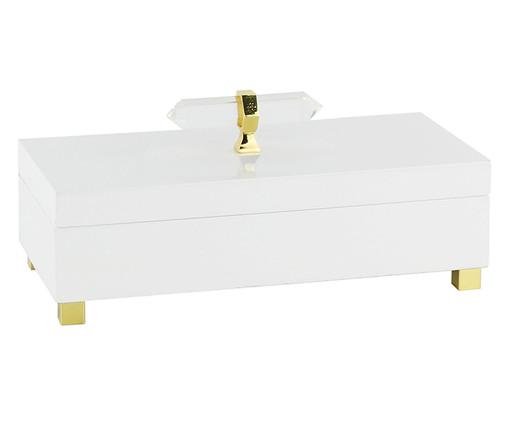 Caixa Decorativa de Madeira Agnès - Branca e Dourada, Branco | WestwingNow