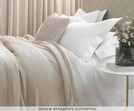 Fronha Acetinada Vercelli Branca e Nocciola - 300 Fios | WestwingNow
