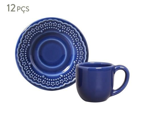Jogo de Xícaras para Café e Pires em Cerâmica Madeleine - Azul Navy, Azul   WestwingNow