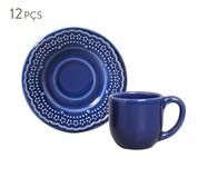 Jogo de Xícaras para Café e Pires em Cerâmica Madeleine 06 Pessoas - Azul Navy | WestwingNow