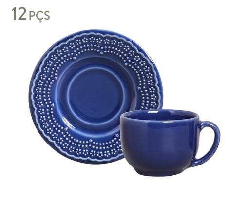 Jogo de Xícaras para Chá e Pires em Cerâmica Madeleine 06 Pessoas - Azul Navy, Azul | WestwingNow