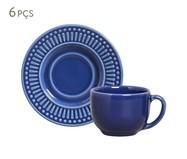 Jogo de Xícaras e Pires para Chá em Cerâmica Roma - Azul Navy   WestwingNow