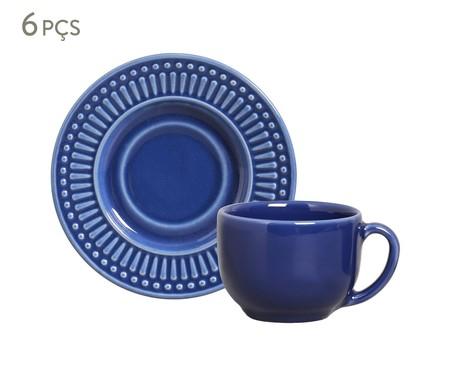 Jogo de Xícaras e Pires para Chá em Cerâmica Roma 06 Pessoas - Azul Navy | WestwingNow