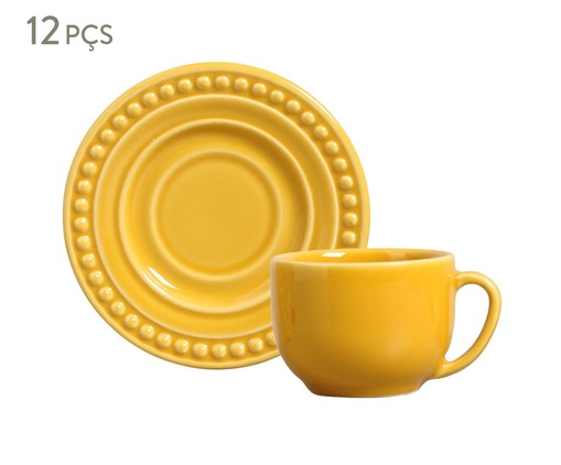 Jogo de Xícaras para Chá em Cerâmica Atenas - Mostarda, amarelo | WestwingNow