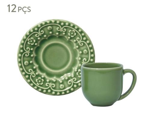 Jogo de Xícaras para Café em Cerâmica Esparta 06 Pessoas - Verde Sálvia, Verde   WestwingNow