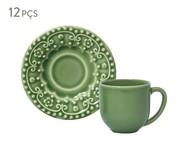 Jogo de Xícaras para Café em Cerâmica Esparta 06 Pessoas - Verde Sálvia | WestwingNow