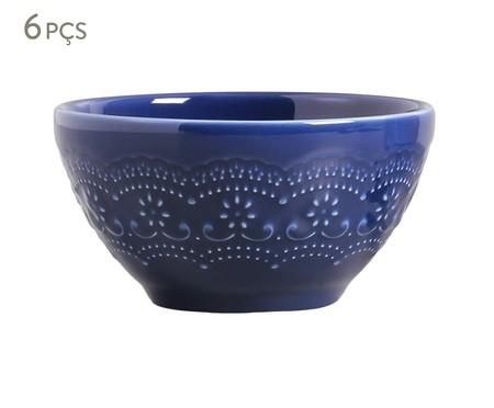 Jogo de Bowls em Cerâmica Madeleine Azul Navy - 06 Pessoas | WestwingNow
