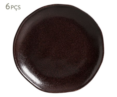 Jogo de Pratos para Sobremesa em Cerâmica Orgânico Volcano - Marrom | WestwingNow