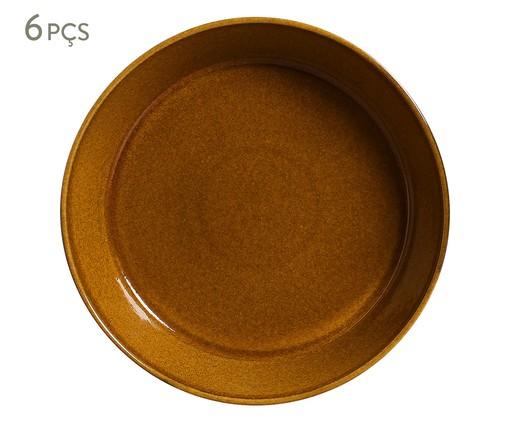 Jogo de Pratos Fundos em Cerâmica Neo Âmbar - 06 Pessoas, laranja | WestwingNow