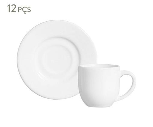 Jogo de Xícaras e Pires para Café em Cerâmica Mônaco 06 Pessoas - Branco, Branco   WestwingNow
