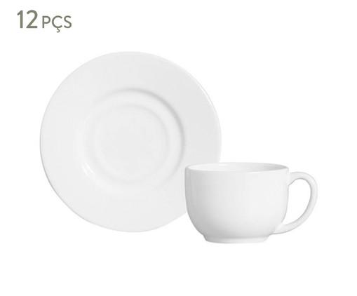 Jogo de Xícaras para Chá em Cerâmica Mônaco 06 Pessoas - Branco, Branco | WestwingNow