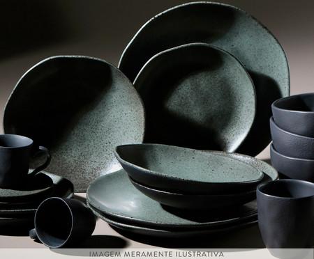 Jogo de Pratos Fundos em Cerâmica Orgânico Ash - Preto | WestwingNow