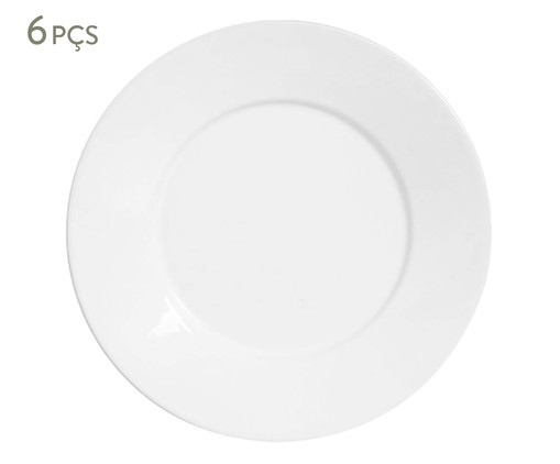 Jogo de Pratos para Sobremesa em Cerâmica Mônaco 06 Pessoas - Branco, Branco | WestwingNow