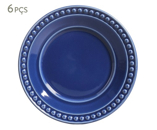 Jogo de Pratos para Sobremesa em Cerâmica Atenas Azul -06 Pessoas, Azul | WestwingNow