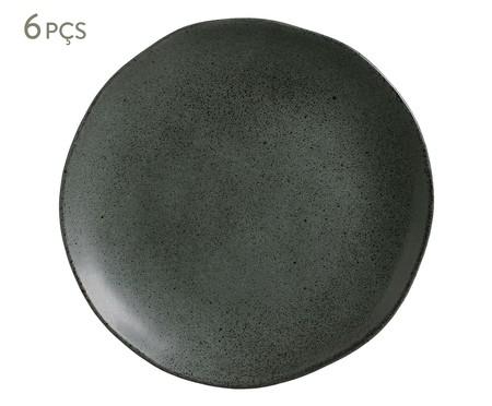 Jogo de Pratos Rasos em Cerâmica Orgânico Ash - Preto | WestwingNow