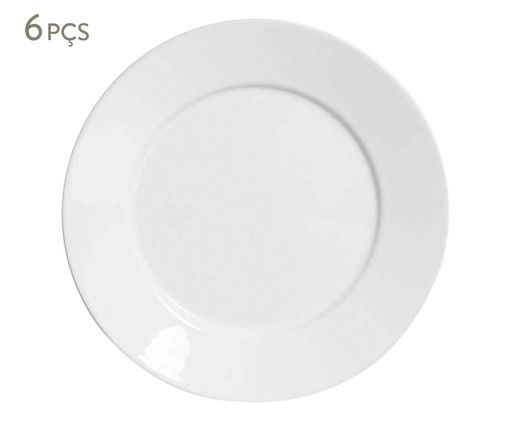 Jogo de Pratos Rasos em Cerâmica Mônaco 06 Pessoas - Branco, Branco | WestwingNow