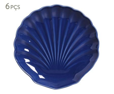 Jogo de Pratos para Sobremesa em Cerâmica Ocean 06 Pessoas - Azul | WestwingNow