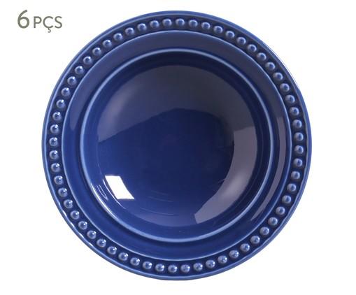 Jogo de Pratos Fundos em Cerâmica Atenas Azul - 06 Pessoas, Azul | WestwingNow