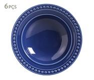 Jogo de Pratos Fundos em Cerâmica Atenas 06 Pessoas Porto Brasil - Azul | WestwingNow