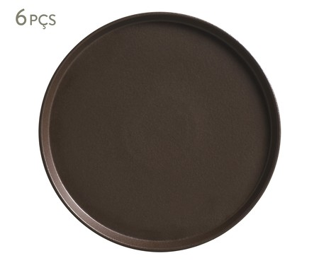 Jogo de Pratos para Sobremesa em Cerâmica Neo Oak - Marrom | WestwingNow