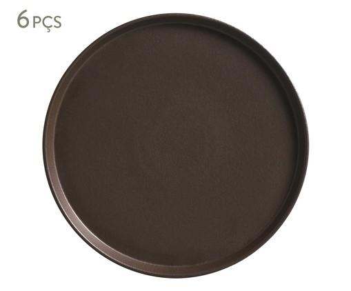 Jogo de Pratos para Sobremesa em Cerâmica Neo Oak - 06 Pessoas, Marrom | WestwingNow