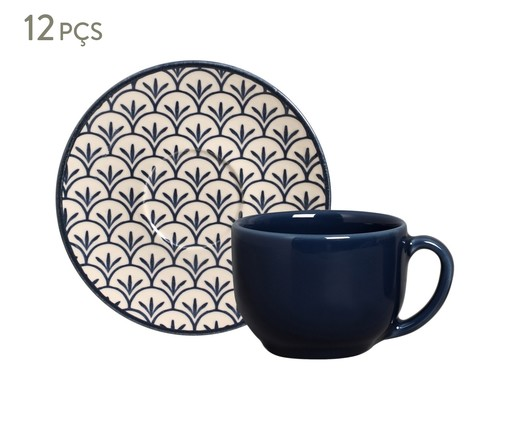 Jogo de Xícaras para Chá com Pires Coup Leque - Azul, Azul   WestwingNow