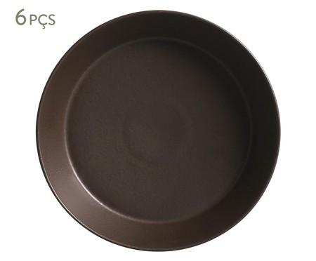 Jogo de Pratos Fundos em Cerâmica Neo Oak 06 Pessoas - Marrom | WestwingNow