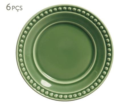 Jogo de Pratos para Sobremesa em Cerâmica Atenas 06 Pessoas - Verde | WestwingNow