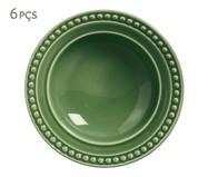 Jogo de Pratos Fundos em Cerâmica Atenas Verde - 06 Pessoas | WestwingNow