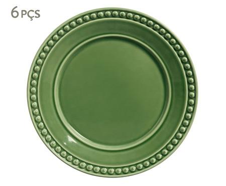 Jogo de Pratos Rasos em Cerâmica Atenas 06 Pessoas - Verde | WestwingNow