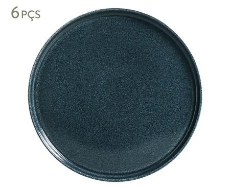 Jogo de Pratos para Sobremesa em Cerâmica Neo Azul - 06 Pessoas | WestwingNow