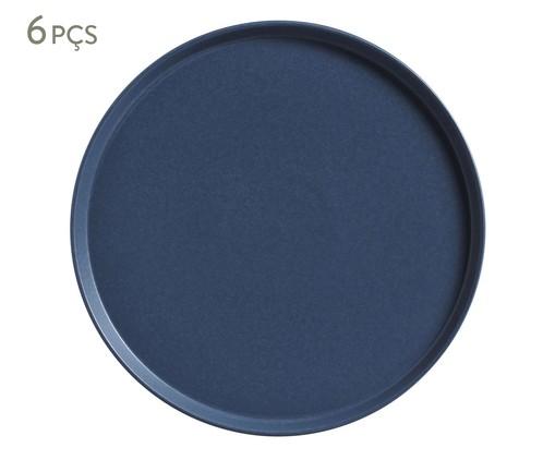 Jogo de Pratos para Sobremesa em Cerâmica Neo Boreal - 06 Pessoas, Azul | WestwingNow