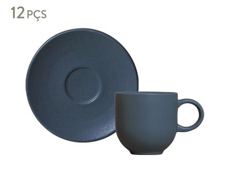Jogo de Xícaras para Café em Cerâmica Stoneware Boreal - Azul | WestwingNow