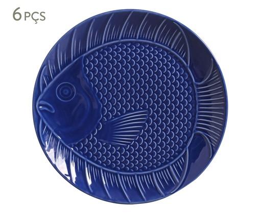 Jogo de Pratos Rasos em Cerâmica Ocean 06 Pessoas - Azul, Azul | WestwingNow