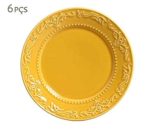 Jogo de Pratos Rasos em Cerâmica Acanthus 06 Pessoas - Mostarda, amarelo | WestwingNow