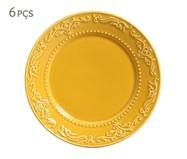 Jogo de Pratos Rasos em Cerâmica Acanthus 06 Pessoas - Mostarda | WestwingNow