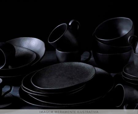 Jogo de Pratos Fundos em Cerâmica Orgânico - Preto Matte | WestwingNow