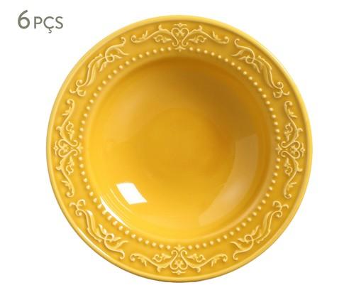 Jogo de Pratos Fundos em Cerâmica Acanthus - Mostarda, amarelo   WestwingNow