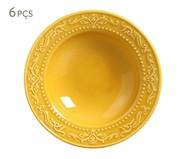 Jogo de Pratos Fundos em Cerâmica Acanthus - Mostarda | WestwingNow
