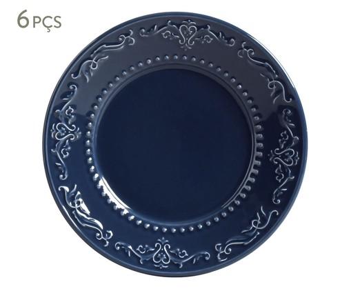 Jogo de Pratos para Sobremesa Acanthus Deep Blue - 06 Pessoas, Azul | WestwingNow