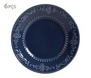Jogo de Pratos para Sobremesa em Cerâmica Acanthus 06 Pessoas - Azul | WestwingNow