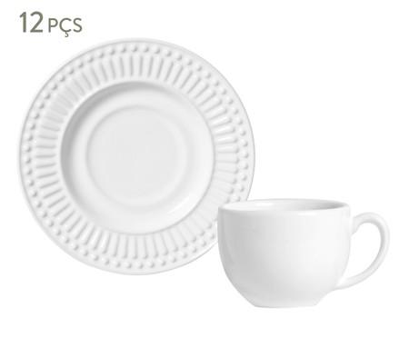 Jogo de Xícaras para Chá em Cerâmica Roma - Branco | WestwingNow