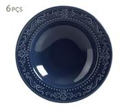Jogo de Pratos Fundos Acanthus Deep Blue - 06 Pessoas | WestwingNow