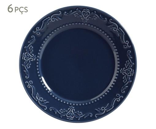 Jogo de Pratos Rasos em Cerâmica Acanthus - Azul, Azul | WestwingNow